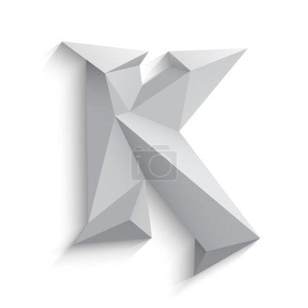 Vector illustration of 3d letter K on white background.