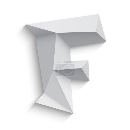 Vector illustration of 3d letter F on white background.