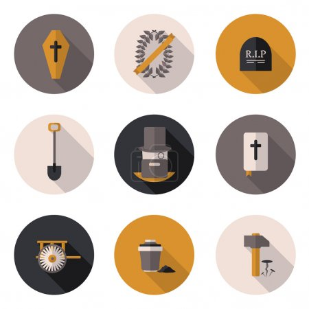 flat icons funeral services