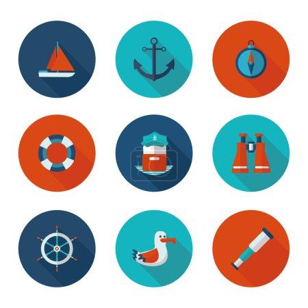 flat icons yacht club