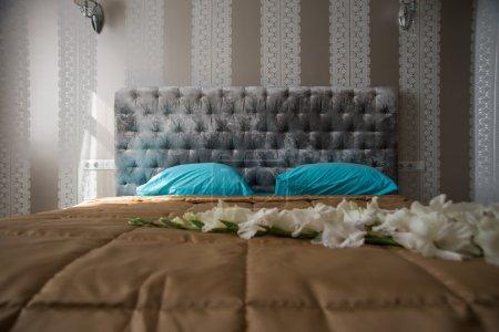 bed in a hotel room, bedroom