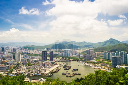 Panoramic view of Sanya city from Luhuitou Park....