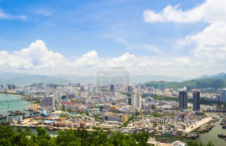 Panoramic view of downtown Sanya city from Luhuito...