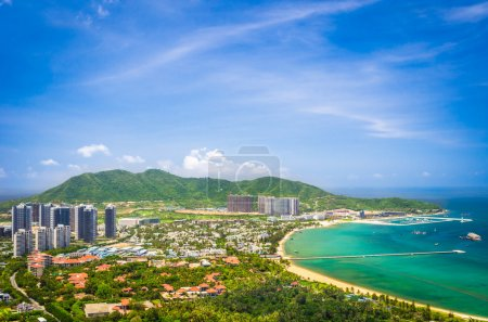 Panoramic view of Sanya city and bay from Luhuitou...