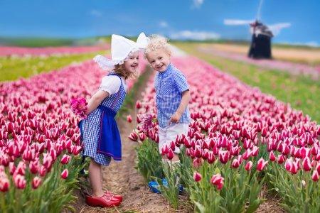 Dutch children in tulip field