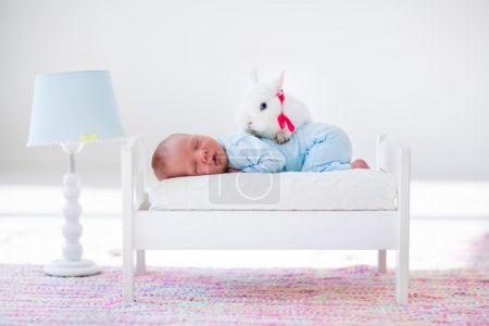 Little baby sleeping in toy bed with pat bunny