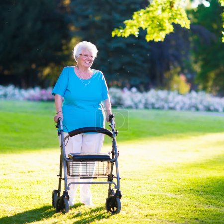 Senior handicapped lady with a