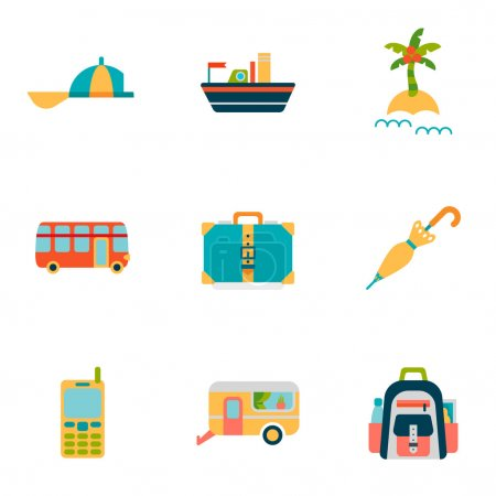 Travel isolated flat Icons set