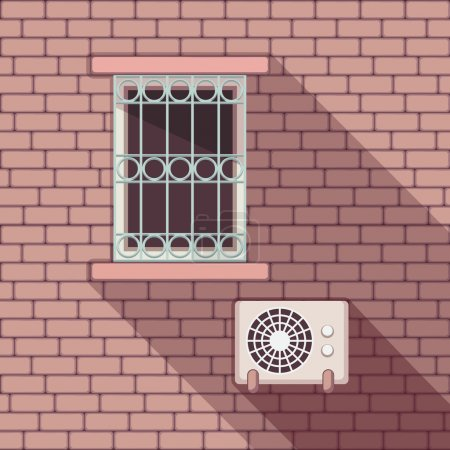 Illustrations with a vintage window and air-conditioner on the brick wall