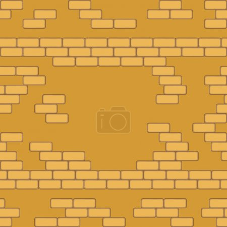 Yellow brick wall seamless Vector illustration background - texture pattern for continuous replicate.