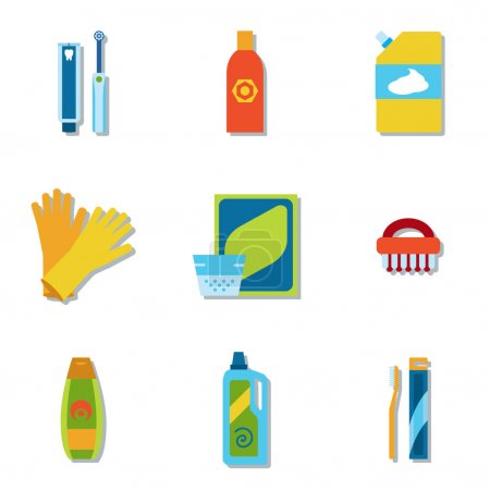 Household chemicals and cleaning supplies bottles vector flat icons