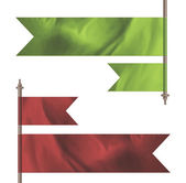 Green and red silk flags