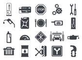 Black vector car service flat icons Vehicle maintenance and repair