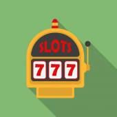 Slot Machine icon. Modern Flat style with a long shadow