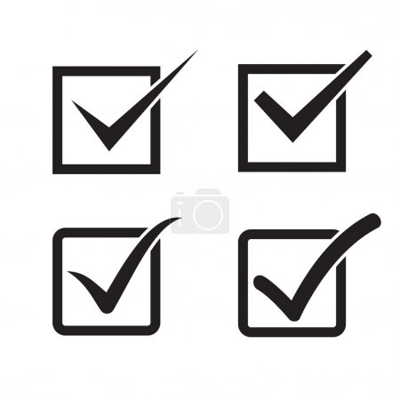 Set of check mark, check box icons