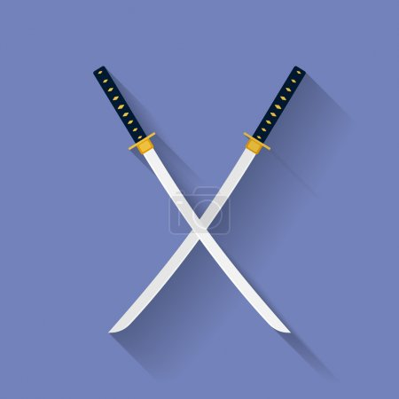 Icon of Katana swords. Flat style