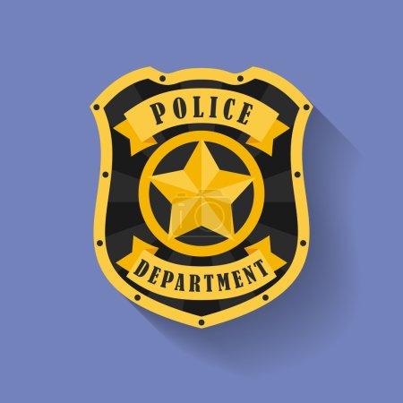 Illustration pour Icône de la police, insigne du shérif. Style plat - image libre de droit