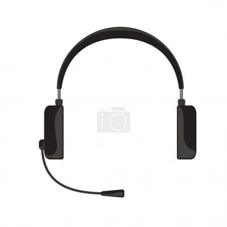 Vector illustration of black headphones with microphone on white background