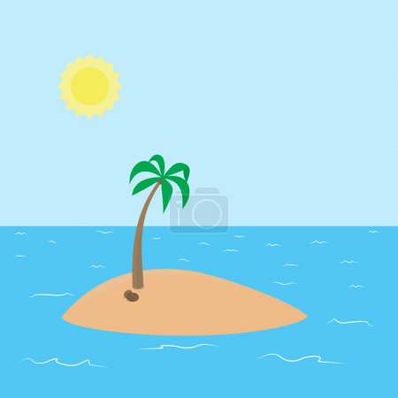Deserted tropical island with beach and coconut palm vector cartoon background