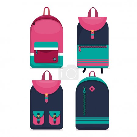 Illustration for Set of four urban backpacks icons on white background - Royalty Free Image