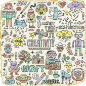 Funny Wacky Doodle Characters Set 11 Vintage Texture Vector Illustration