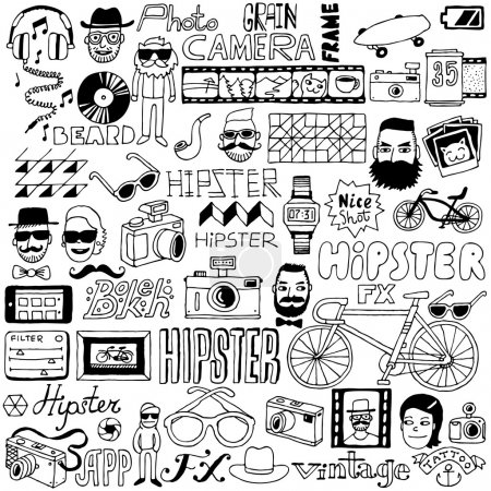 Illustration pour Hipster doodle mega set. Illustration vectorielle . - image libre de droit