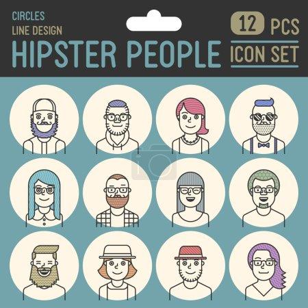 Illustration pour Hipster personnes ligne design cercle icône ensemble. Illustrations vectorielles tendance . - image libre de droit