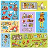 Hipster swag vector doodle hand drawn colorful illustrations set