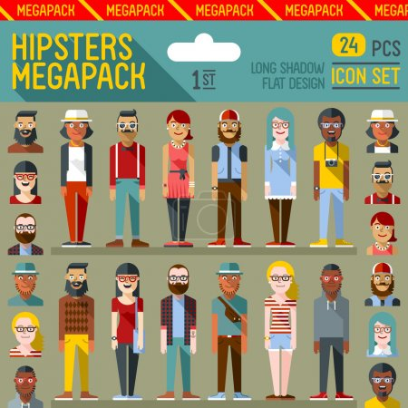Illustration for Hipsters megapack. Flat design. Long shadow. Vector illustrations. Icon set - Royalty Free Image