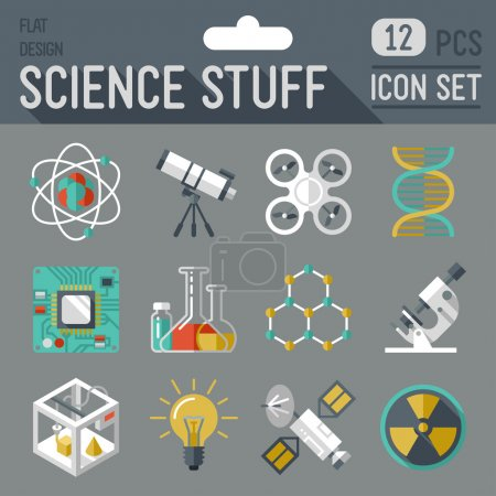 Photo for Science stuff icon set. Flat design long shadow. Vector illustration. - Royalty Free Image