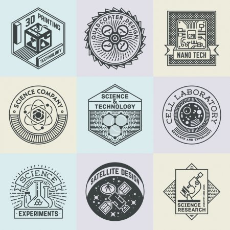 Illustration for Assorted Science Insignias Logotypes Template Set. Line Art Vector Elements. - Royalty Free Image