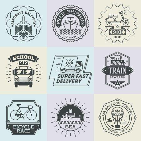 Retro design insignias transport