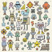 Cartoon wacky childish colorful doodle set