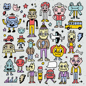 Cartoon wacky doodle colorful set