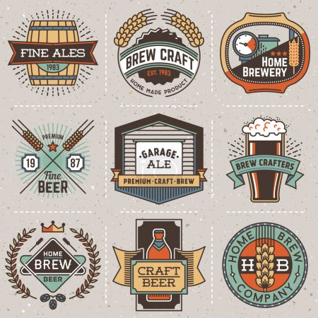 logotypes home brewery set .