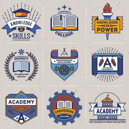 Illustration for Color retro design insignias high education logotypes set . Vector vintage elements. Cardboard texture. - Royalty Free Image
