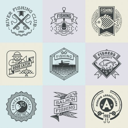 Fishing Retro Design  Logotypes