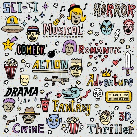 Illustration for Movie Genres. TV Shows, Series Funny Doodle Vector set. Hand drawn illustration. School notebook. - Royalty Free Image