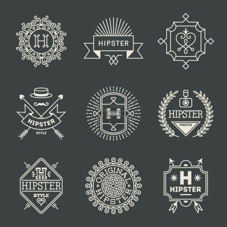 hipster insignias logotypes set