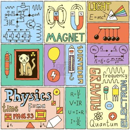 Photo pour Ensemble de bannières de sciences physiques. Illustrations vectorielles dessinées à la main couleur . - image libre de droit