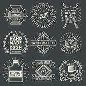 Retro Design Luxury Insignias Logotypes Template Set Line Art Vector Vintage Style Elements