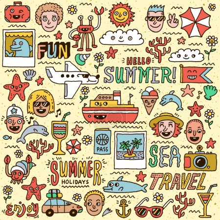 Illustration for Summer Holidays Vacation Travel Funny Doodle Vector set. Hand drawn illustration. Colorful pattern. - Royalty Free Image