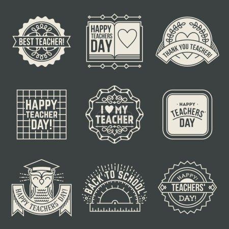 Illustration pour Happy Teachers Day assortiment d'insignes de conception logotypes ensemble. Merci signes pour l'appréciation de l'enseignant. Symboles vectoriels éléments. Merci notes pour l'enseignant . - image libre de droit