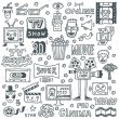 TV Shows, Series and Movies Funny Doodle Vector se...