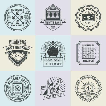 Illustration pour Ensemble de modèles de logotypes d'insignes commerciaux financiers assortis. Éléments vectoriels Line Art . - image libre de droit