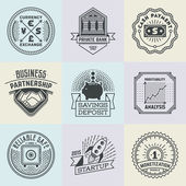 Assorted Financial Business Insignias Logotypes Template Set Line Art Vector Elements