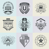 Assorted retro design insignias high education logotypes set  Vector vintage elements