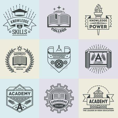 conjunto de logotipos de alta educación