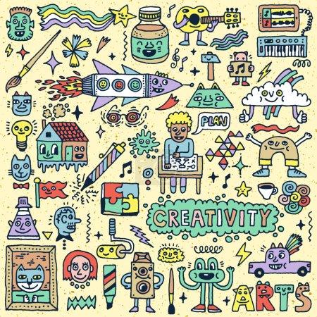 Illustration pour Créativité Activités Funny Doodle Cartoon Set. Arts et artisanat. Modèle d'illustration de couleur dessinée à la main vectorielle - image libre de droit