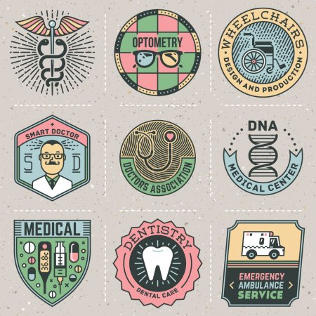 Assorted medical logos color set